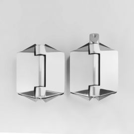 POLGGS Polaris Hinge 120 series Glass to Glass Satin 180 Degree Pair of Two
