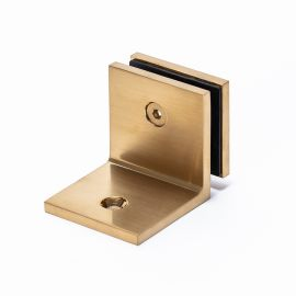 Bracket Square Glass to Wall 90 Degree Brush Brass