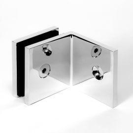 Bracket Square Glass to Wall 90 Degree Chrome