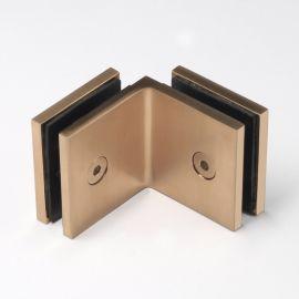 SBD50SQBB Bracket Square Glass to Glass 90 Degree Brushed Brass