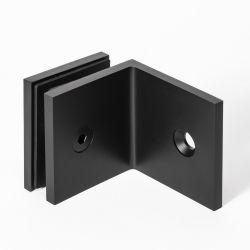 Bracket Square Glass to Wall 90 Degree Black